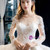 White Ball Gown Tulle Appliques Long Sleeve Backless Wedding Dress
