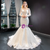 White Memraid Tulle Lace Long Sleeve Wedding Dress With Removable Train