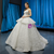 White Ball Gown Lace Sequins Strapless Sleeveless Wedding Dress