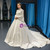 White Ball Gown Satin High Neck Puff Sleeve Wedding Dress With Beading