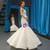 White Mermaid Satin Sequins Appliques V-neck Backless Wedding Dress