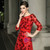 Red Tulle Appliques Sequins 3/4 Sleeve Long Mother Of The Bride Dress