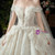 Gorgeous Champagne Ball Gown Tulle Sequins Off the Shoulder Beading Wedding Dress