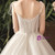 Light Champagne Tulle Sleeveless Spaghetti Straps Wedding Dress With Pearls