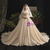 Luxurious Champagne Sequins Off the Shoulder Wedding Dress With Long Train