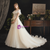 A-Line Champagne Tulle Appliques V-neck Beading Wedding Dress