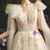 New arrivals Champagne Tulle Appliques Sexy V-neck Wedding Dress