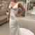 Sexy White Satin Mermaid Backless V-neck Wedding Dress