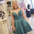 A-Line Satin Double Straps Backless Homecoming Dress With Bow
