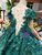 Green Ball Gown Tulle Appliques Cap Sleeve Beading Flower Girl Dress