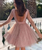 A-Line Pink Sequins Long Sleeve Backless Short Homecoming Dress
