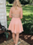 A-Line Pink Chiffon Spaghetti Straps Beading Homecoming Dress