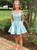 A-Line Blue Satin Two Piece Off the Shoulder Beading Homecoming Dress