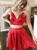 A-Line Red Satin Spaghetti Straps Two Piece Homecoming Dress