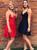 A-Line Red/Black Chiffon Spaghetti Straps Homecoming Dress