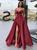 A-Line Burgundy Satin Spaghetti Straps Long Prom Dress WIth Side Split