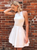 A-Line White Satin Halter Backless Beading Homecoming Dress