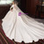 White Ball Gown Satin 3/4 Sleeve Wedding Dress With Train