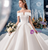 White Ball Gown Satin Off the Shoulder Pleats Wedding Dress With Pleats