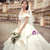 Ivory White Ball Gown Satin Off the Shoulder Wedding Dress