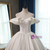 Fashion White Ball Gown Satin Off the Shoulder Wedding Dress With Long Train