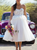 A-Line White Tulle Sweetheart Appliques Tea Length Wedding Dress