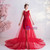 In Stock:Ship in 48 Hours Red Tulle Lace Appliques Wedding Dress