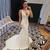 White Mermaid Satin Deep V-neck Backless Simple Wedding Dress  2020
