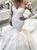 White Mermaid Tulle Long Sleeve V-neck 3D Flower Wedding Dress