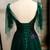 Dark Green Tulle Spaghetti Straps Beading Prom Dress 2020