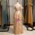 A-Line Champagne Tulle V-neck Pleats Prom Dress
