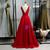 Simple Burgundy Satin Deep V-neck Backless Prom Dress 2020