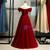 Burgundy Tulle Off the Shoulder Beading Sequins Prom Dress