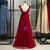 A-Line Burgundy Tulle Bateau Pleats Prom Dress With Feather 2020