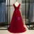 Burgundy Tulle V-neck Pleats Beading Sequins Prom Dress 2020
