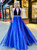 A-Line Blue Organza V-neck Backless Beading Prom Dress 2020
