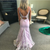 Liaco Mermaid Satin V-neck Backless Appliques Prom Dress 2020