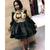 A-Line Black Satin Long Sleeve Appliques Homecoming Dress