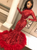 Red Mermaid Sequins High Neck Long Sleeve Prom Dress With Feather 2020