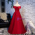 Simple Burgundy Satin Off the Shoulder Prom Dress 2020