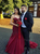 Burgundy Mermaid Tulle Spagehtti Straps Appliques Beading Prom Dress