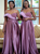 Shops Around The World A-Line Purple Satin Off the Shoulder Pearls Bridesmaid Dress