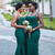 With 28 Colors Available. Dark Green Mermaid Spagehtti Straps Appliques Beading Bridesmaid Dress