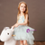 Is Now Available. A-Line Blue Tulle Spagehtti Straps Appliques Flower Girl Dress