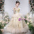 Available In Sizes 0-24 Champagne Ball Gown Tulle Sequins Long Sleeve Flower Girl Dress