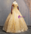 Is Now Available. Gold Ball Gown Tulle Appliques Sequins Off the Shoulder Quinceanera Dress