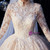 At Great Prices Champagne Tulle Lace Appliques Long Sleeve High Neck Wedding Dress