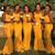We Provide Yellow Mermaid Satin Spaghetti Straps Lace Appliques Bridesmaid Dress