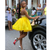 Shop For The Perfect A-Line Yellow Satin Halter Backless Mini Appliques Beads Homecoming Dresses
