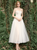 A-Line Champagne Tulle Sweetheart Appliques Ankle Length Wedding Dress